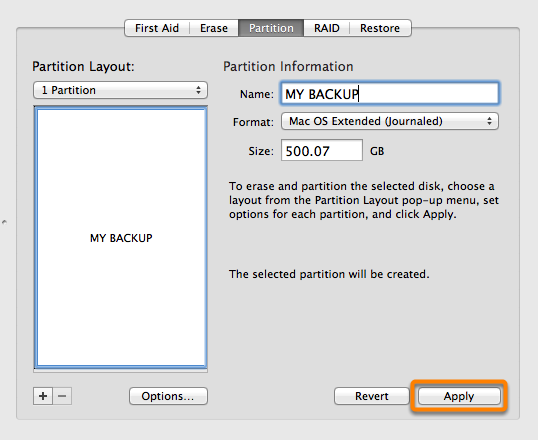 Preparing your backup disk for a backup of OS X | Carbon Copy Cloner
