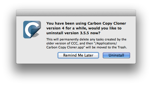 Uninstalling the older version of Carbon Copy Cloner