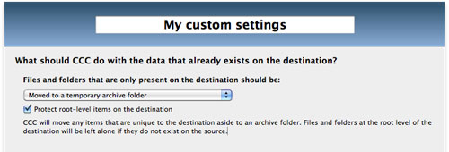 Settings for handling files unique to the destination