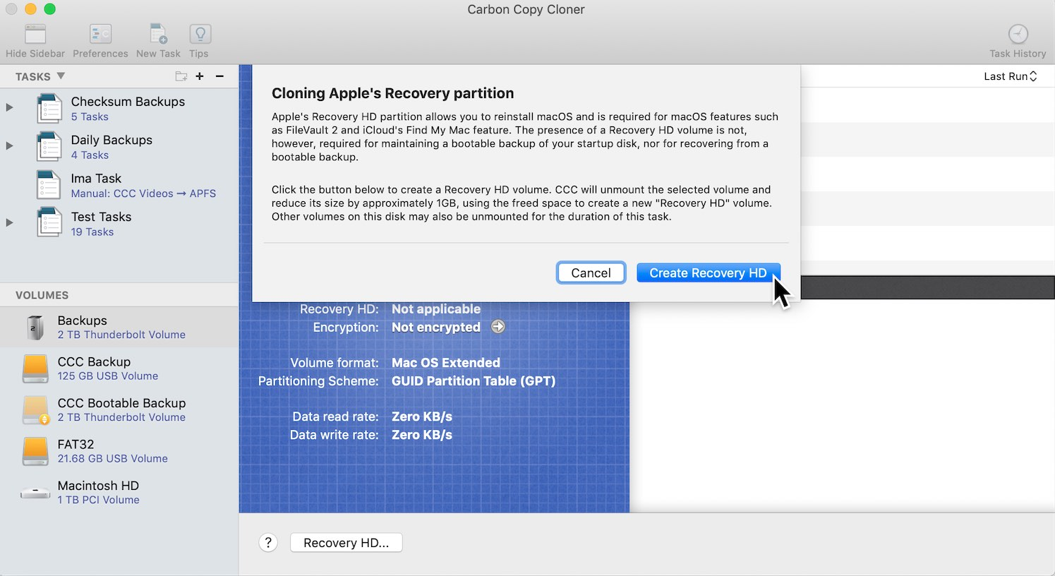 Cloning Apple's Recovery HD partition | Carbon Copy Cloner