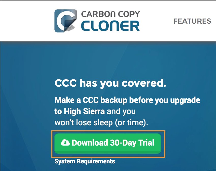 Visit bombich.com to download a free 30-day trial of Carbon Copy Cloner
