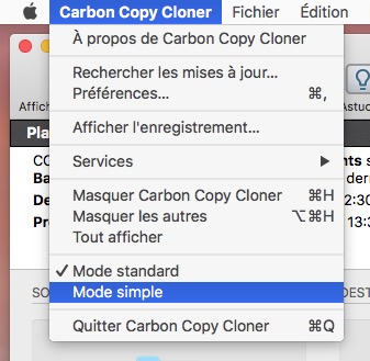 Activez le mode simple via le menu Carbon Copy Cloner