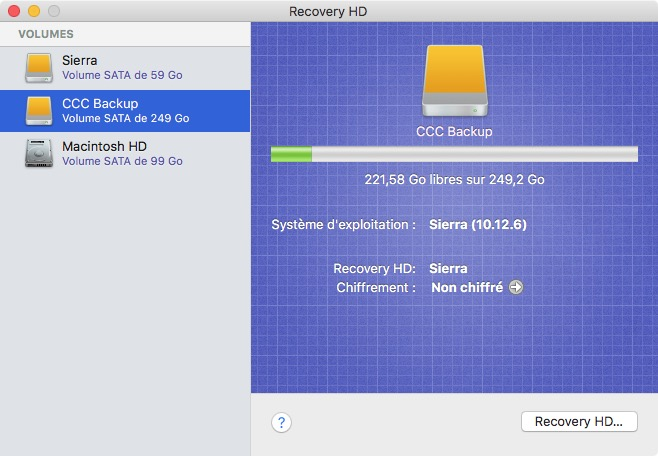 Simple clonage de la partition Recovery HD en mode simple