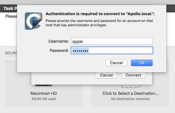 Authenticate to the remote Mac