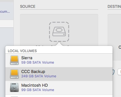 Select backup volume as the source