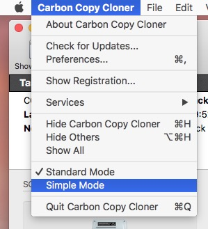 Enable simple mode via the Carbon Copy Cloner menu
