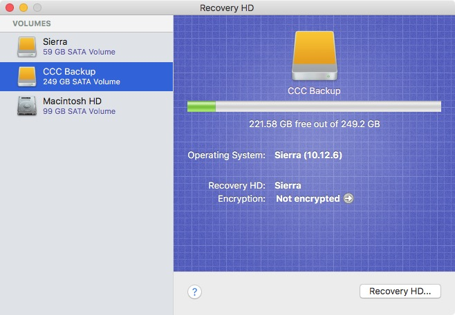 Cloning the Recovery HD is simple in Simple mode as well