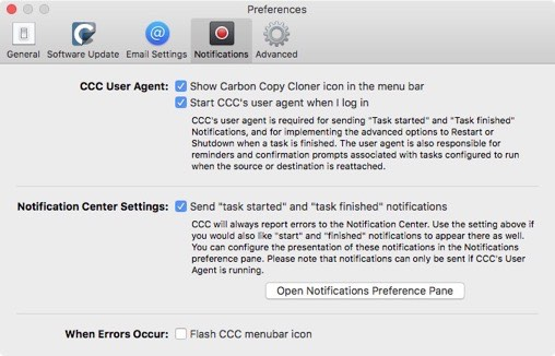CCC notification preferences