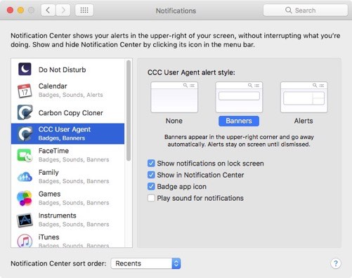 Notification Center notifications