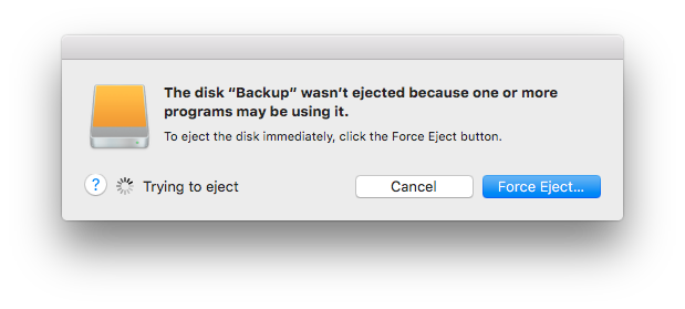 The disk Backup wasn't ejected because one or more programs may be using it.