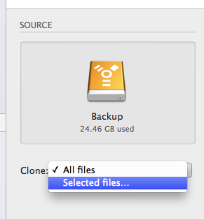 Choose Selected Files popup menu option