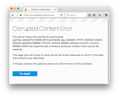 Firefox Corrupted Content Error